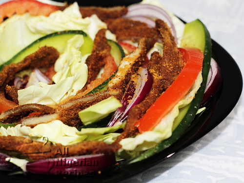 chicken suya salad