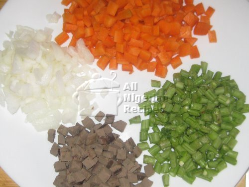 cut vegetables for fried rice